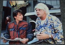 "Michael J Fox Christopher Lloyd ""back To The Future"" Signed Photo Psa/dna V04593"