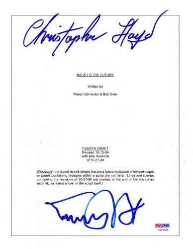 Michael J Fox Christopher Lloyd Back To The Future Signed Script Autograph Psa