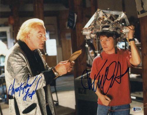 MICHAEL J FOX & CHRISTOPHER LLOYD CAST SIGNED AUTOGRAPH 11x14 PHOTO C - BECKETT