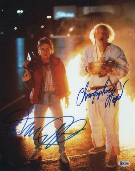 MICHAEL J FOX & CHRISTOPHER LLOYD CAST SIGNED AUTOGRAPH 11x14 PHOTO D - BECKETT