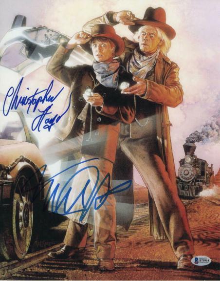 MICHAEL J FOX & CHRISTOPHER LLOYD CAST SIGNED AUTOGRAPH 11x14 PHOTO E - BECKETT