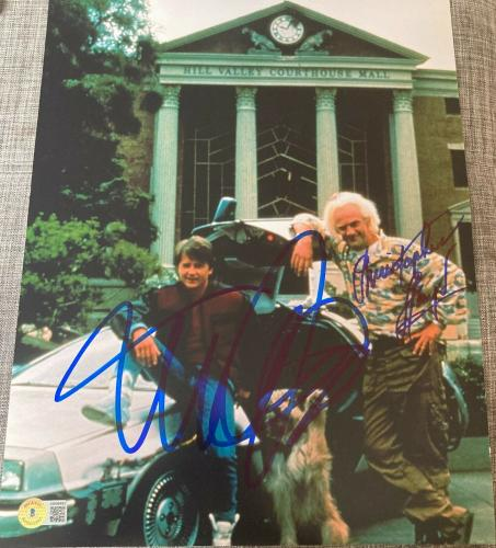 """MICHAEL J FOX & CHRISTOPHER LLOYD DUAL """"BACK TO THE FUTURE"""" SIGNED 11x14 PHOTO A"""