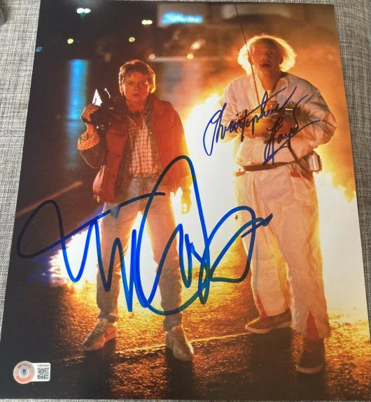 "MICHAEL J FOX & CHRISTOPHER LLOYD DUAL ""BACK TO THE FUTURE"" SIGNED 11x14 PHOTO B"