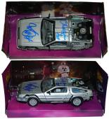 Michael J Fox & Christopher Lloyd Dual Signed Back To The Future 1:24 Scale Die Cast Delorean Time Machine Car
