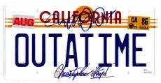 Michael J Fox & Christopher Lloyd Dual Signed Back To The Future California 'OUTATIME' Delorean Replica License Plate