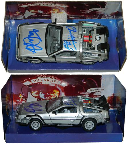 Michael J Fox & Christopher Lloyd Dual Signed Back To The Future Part II 1:24 Scale Die Cast Delorean Time Machine Car
