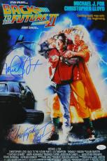 Michael J Fox & Christopher Lloyd Dual Signed Back To The Future Part II 12x18 Movie Poster