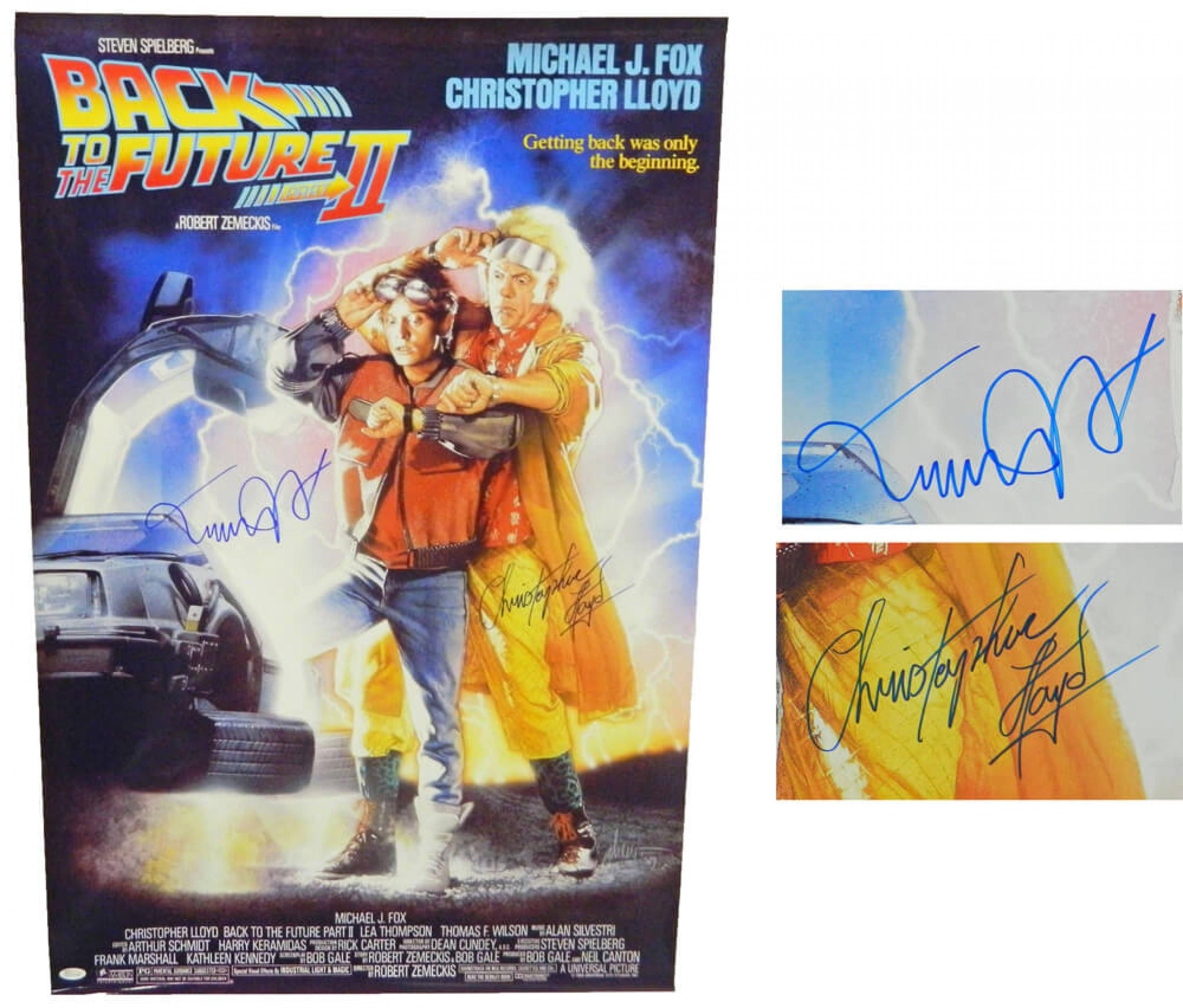 Michael J Fox & Christopher Lloyd Dual Signed Back To The Future ...