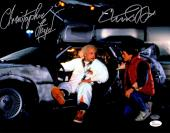 Michael J Fox & Christopher Lloyd Dual Signed Back To The Future With Delorean Time Machine 11x14 Photo