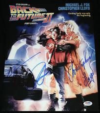 Michael J Fox & Christopher Lloyd signed 11 x 14, Back to the Future,PSA/DNA LOA