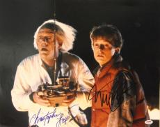 MICHAEL J FOX & CHRISTOPHER LLOYD Signed Autographed 16x20 Photo PSA/DNA AA00025