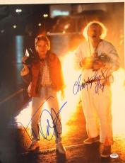 MICHAEL J FOX & CHRISTOPHER LLOYD Signed Autographed 16x20 Photo PSA/DNA Z03927