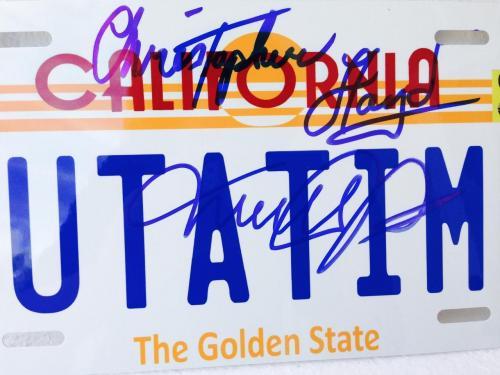 MICHAEL J. FOX CHRISTOPHER LLOYD Signed Back To  Future License Plate PSA X56760