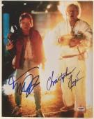 Michael J Fox Christopher Lloyd Signed BACK TO THE FUTURE 11x14 Photo #1 PSA LOA