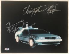 Michael J Fox Christopher Lloyd Signed BACK TO THE FUTURE 11x14 Photo #3 PSA LOA