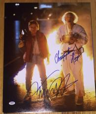 MICHAEL J. FOX CHRISTOPHER LLOYD SIGNED BACK TO THE FUTURE 16x20 PHOTO PSA/DNA B