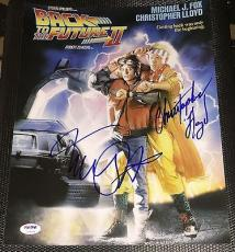 Michael J Fox Christopher Lloyd Signed Back To The Future 2 Photo Psa/dna V14258