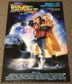 Michael J Fox Christopher Lloyd Signed Back To The Future 2 Poster Proof Psa Loa