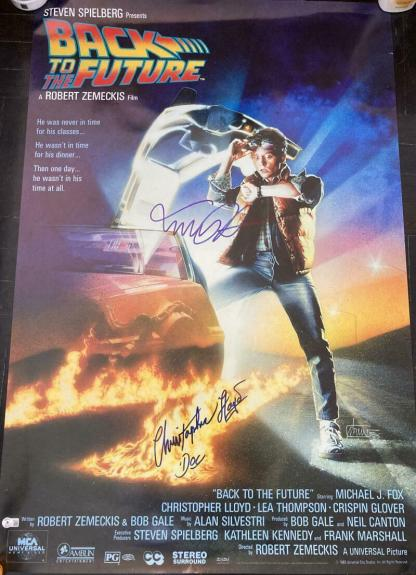 """Michael J. Fox Christopher Lloyd Signed """"back To The Future"""" Full Poster Beckett"""