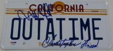 Michael J Fox Christopher Lloyd Signed Back To The Future License Plate Outatime