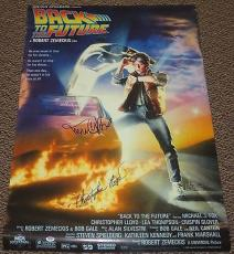 Michael J Fox Christopher Lloyd Signed Back To The Future Movie Poster 27x40 Psa