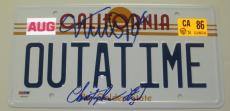 Michael J Fox Christopher Lloyd Signed Back To The Future Outatime Plate Psa