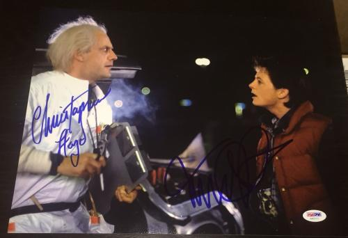 Michael J Fox Christopher Lloyd Signed Back To The Future Photo Psa/dna Aa01111