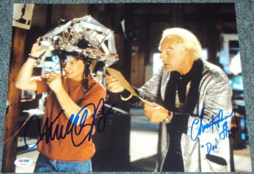 "Michael J Fox Christopher Lloyd Signed ""back To The Future"" Photo Psa/dna V04592"