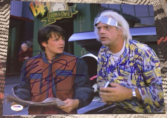 Michael J Fox Christopher Lloyd Signed Back To The Future Photo Psa/dna V14250