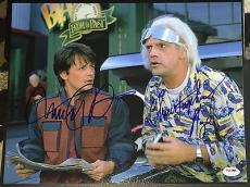 "Michael J Fox Christopher Lloyd Signed ""back To The Future"" Photo Psa/dna V14253"