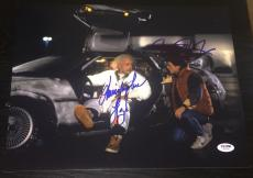Michael J Fox Christopher Lloyd Signed Back To The Future Photo Psa/dna W08880