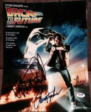 """Michael J Fox Christopher Lloyd Signed """"back To The Future"""" Photo Psa/dna W08883"""