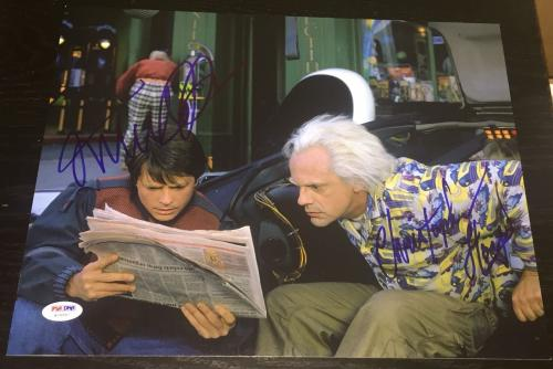 Michael J Fox Christopher Lloyd Signed Back To The Future Photo Psa/dna W08887
