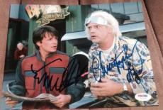 """Michael J Fox Christopher Lloyd Signed """"back To The Future"""" Photo Psa/dna Y03046"""