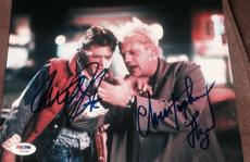 """Michael J Fox Christopher Lloyd Signed """"back To The Future"""" Photo Psa/dna Y03048"""