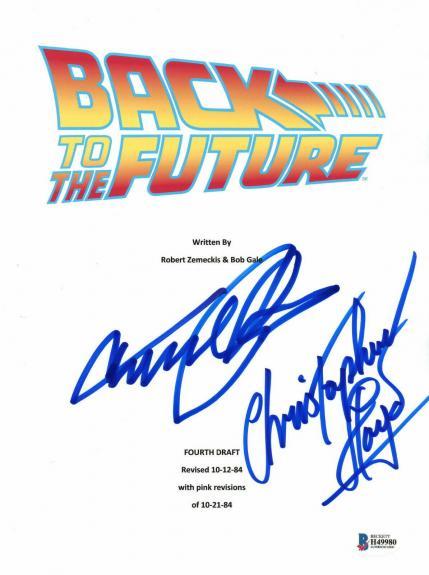 Michael J Fox Christopher Lloyd Signed Back To The Future Script Beckett Bas  4