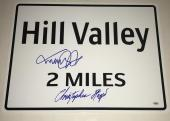 Michael J Fox Christopher Lloyd Signed Hill Valley 18x24 Sign Autograph Prop Psa