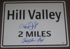 Michael J Fox Christopher Lloyd Signed Hill Valley Movie Prop Sign Proof Psa Loa