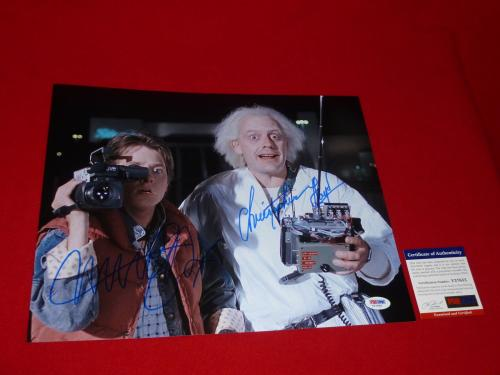 MICHAEL J FOX CHRISTOPHER LLOYD signed PSA/DNA 11x14 back to the future 3
