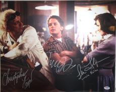MICHAEL J FOX, CHRISTOPHER LLOYD & THOMPSON Signed 16x20 Photo PSA/DNA #AB08964