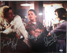 MICHAEL J FOX, CHRISTOPHER LLOYD & THOMPSON Signed 16x20 Photo PSA/DNA #AB08965