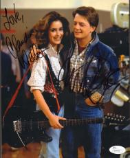 MICHAEL J. FOX & CLAUDIA WELLS Signed BACK TO THE FUTURE 8x10 Photo JSA #Q98490