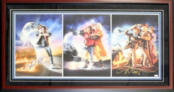 Michael J. Fox & Drew Struzen Autographed Framed Back to the Future Movie Posters