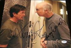 "Michael J. Fox & Larry David Signed Autograph ""curb"" 11x14 Photo Psa/dna W08891"