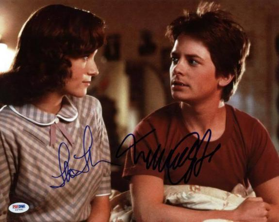 Michael J Fox & Lea Thompson Signed 11X14 Photo PSA/DNA #I47591