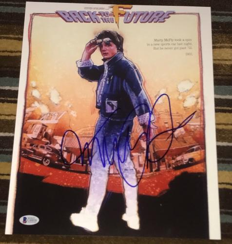 MICHAEL J. FOX SIGNED AUTOGRAPH BACK TO THE FUTURE 11x14 POSTER PHOTO BECKETT B