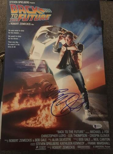 MICHAEL J. FOX SIGNED AUTOGRAPH BACK TO THE FUTURE 12x18 POSTER PHOTO BECKETT