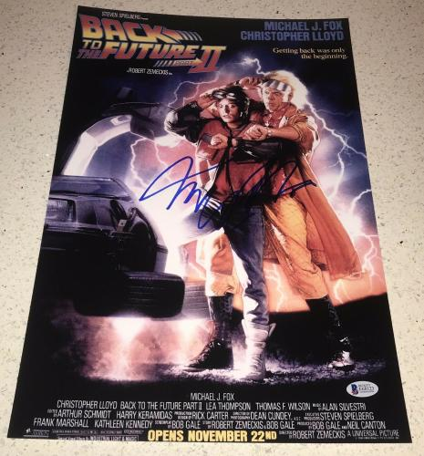 MICHAEL J. FOX SIGNED AUTOGRAPH BACK TO THE FUTURE 2 12x18 POSTER PHOTO BECKETT