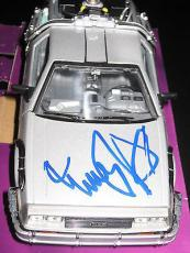 Michael J Fox Signed Autograph Back To The Future Die Cast 1:24 Delorean Car X2