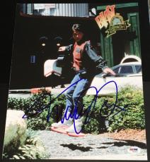 """Michael J. Fox Signed Autograph """"back To The Future"""" Flying Photo Psa/dna W94453"""